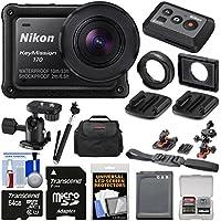 Nikon KeyMission 170 Wi-Fi Shock & Waterproof 4K Video Action Camera Camcorder + Remote + Helmet/Flat Surface Mounts + 64GB Card + Battery + Case + Selfie Stick Kit