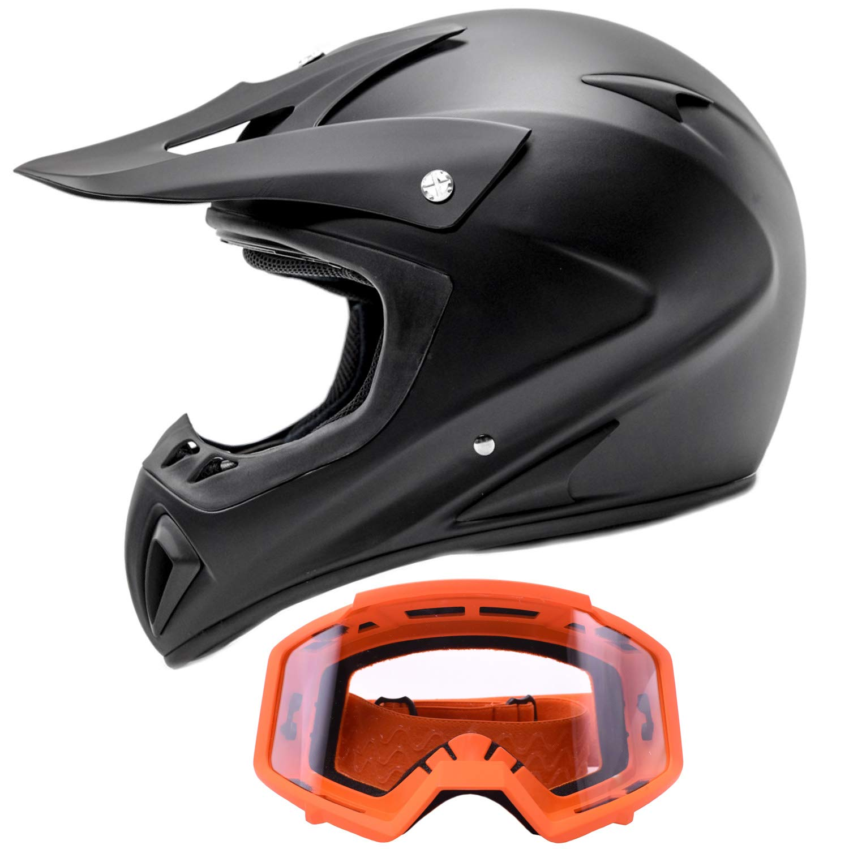 Adult Offroad Helmet & Goggles Gear Combo, Black w/Orange (Medium)