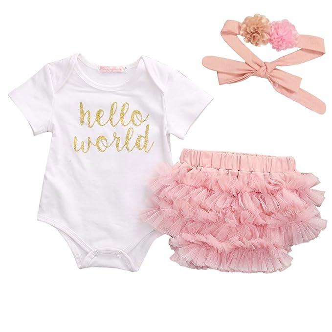 be97890f3 Amazon.com: Honganda 3Pcs/Set Newborn Infant Baby Girl Hello World  Romper+Tutu Shorts+Headband Outfit: Clothing