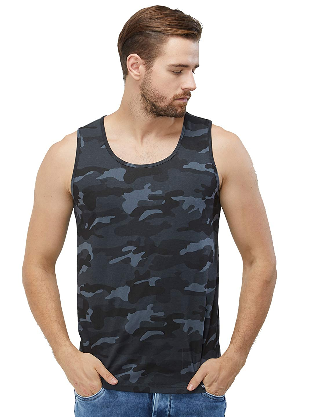 c59ed5d49df1e WYO Men s Camouflage Sleeveless Casual Cotton Sports Gym Wear Vest (Plain  Vest - Green Camo)  Amazon.in  Clothing   Accessories