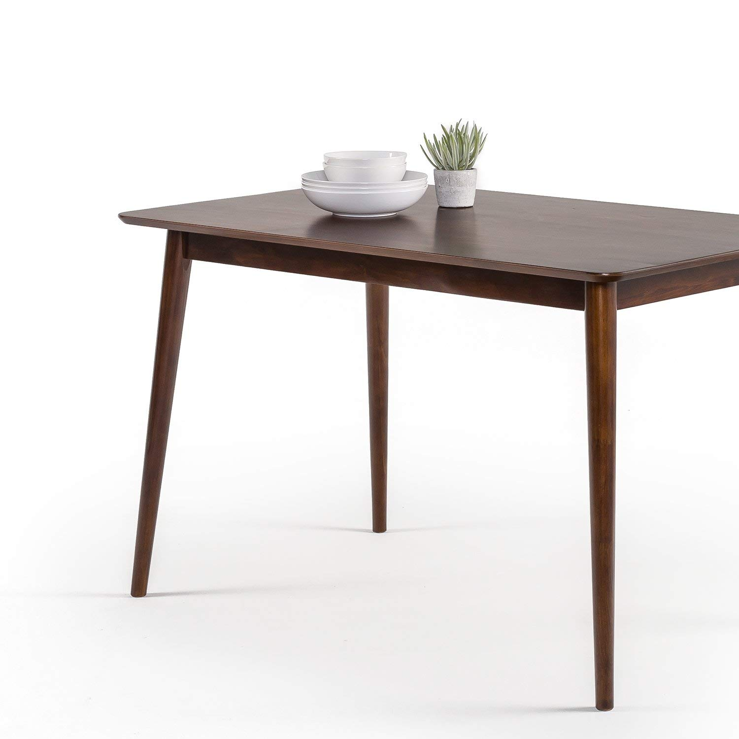 Dining Modern Pine Wood Table Espresso 2 4 Person with Rounded Corner Details Easy Assemble 47.2 x 29.5 x 29 inches for Kitchen Living Room Table Top Sandable