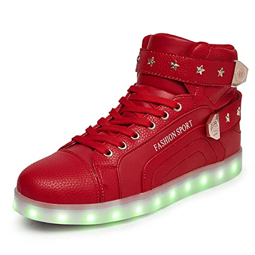 Honeystore Unisex 7 Farbe Farbwechsel USB Aufladen LED Leuchtend High-Top Sport Schuhe Hoch Sneaker Turnschuhe Rot 37 CN aebEKy