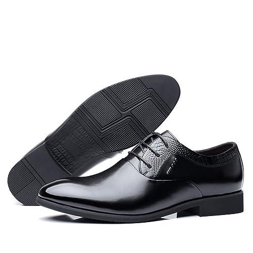 Zapatos de Cuero para Hombres Zapatos de Goma con Suela Baja Zapatos de Moda para Hombres Trabajo Formal de Negocios Mocasines Cómodos Zapatos con Cordones ...