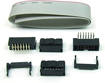 POPESQ IDC Kit 14 Pines/Pin 90° Right Angle + 30 cm Cable Plano/Ribbon Cable Conector Hembra Macho Header #A49: Amazon.es: Electrónica