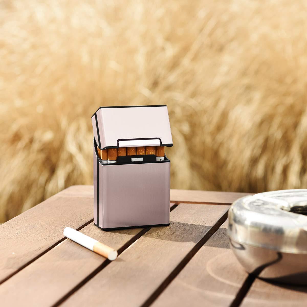 Contenitore Box Pacchetto Chiusura Magnetica con Coperchio Automatico Argento kwmobile Portasigarette in Alluminio per ca.20 Sigarette