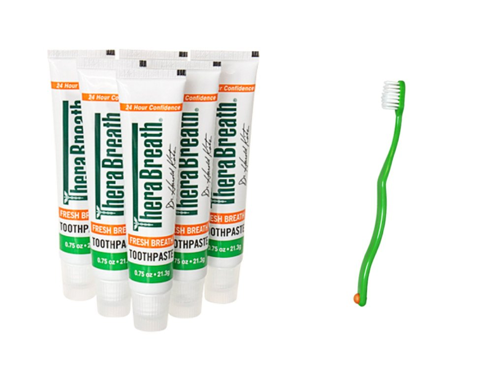 Travel Size Toothpaste 6 Pack Plus Bonus Super Soft Toothbrush - Nice for Travel, Holiday Travel and As a Gift Set by Toothy Grins (Image #1)