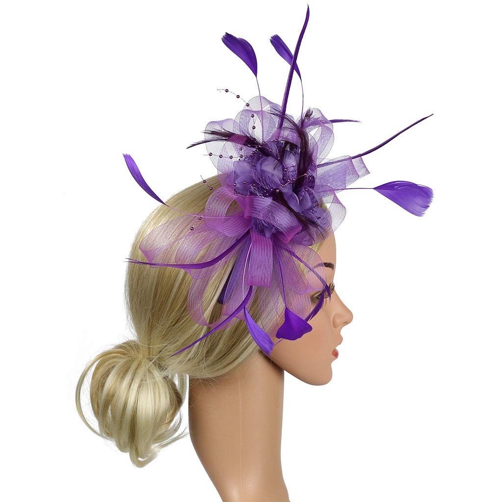 ZEELIY 15X20Cm Retro Palace Hemp Yarn Headband Hairpin Headdress Small Hat Headpiece Flapper Headband Headdress Floral Flower Garland Girls Headband Elegant Flower Feather Hat Derby Headwear