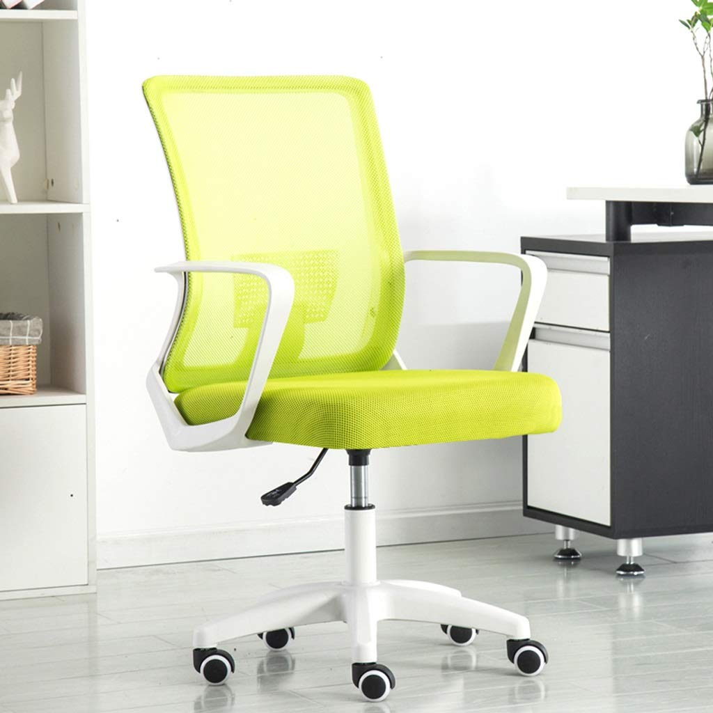 Modern Office Chair Computer Desk Chair Comfort White Swivel Mesh Home Office Task Chair with Arms and Adjustable Height (Color : Green)