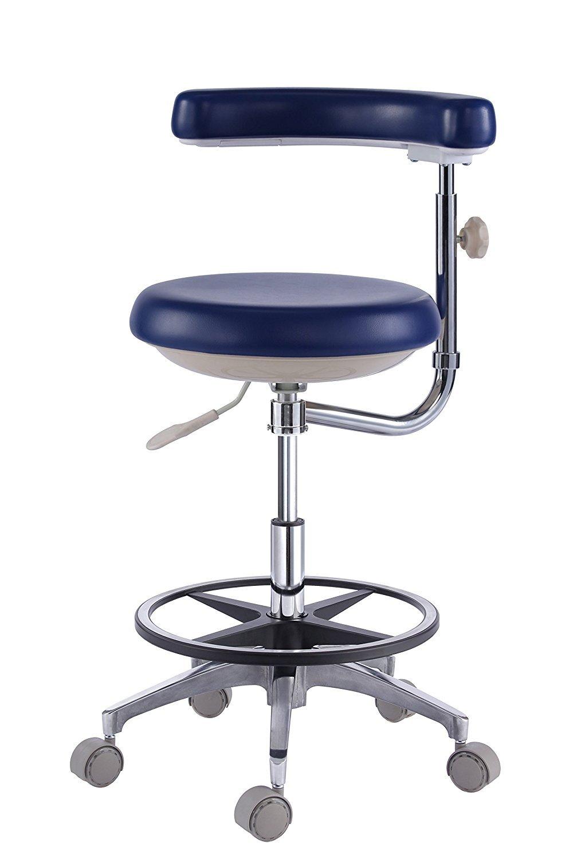 Dental Dentist's Mobile Chair Nurse's Stools with Backrest PU Leather Dark Blue (4#)