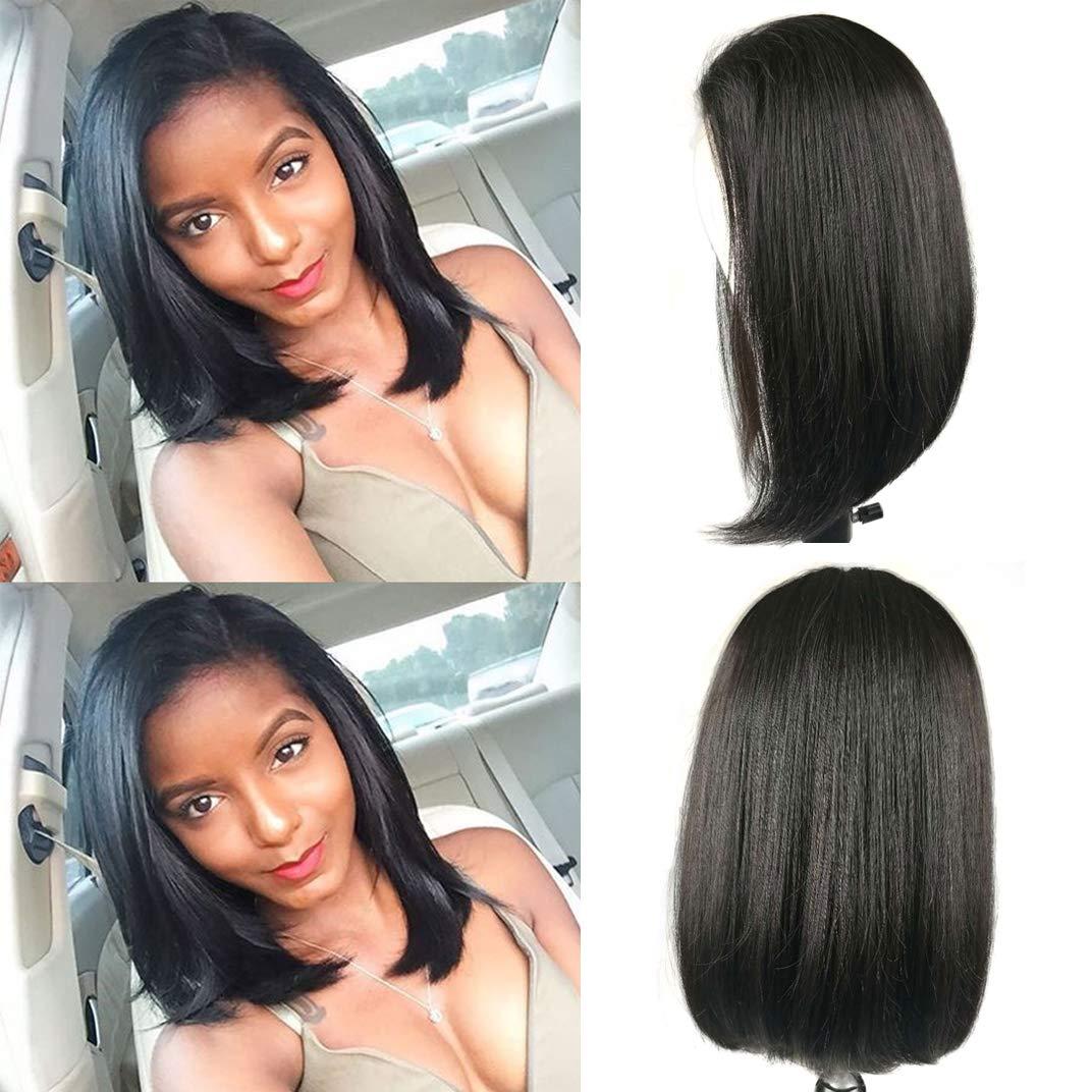 1b26c782755 Amazon.com : Greemeo Bob Lace Front Wigs Black Straight Peruvian Virgin  Human Hair Short Wigs for Women (12