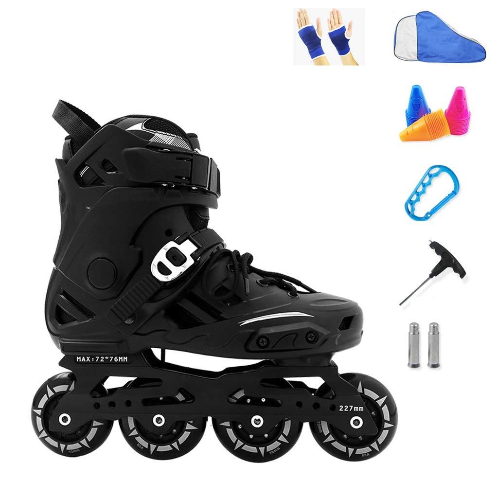YANGXIAOYU Inline Skates, Fixed Nut Buckle Design Inline Skates Set White Black Suitable for Men and Women Boys Girls (Color : Black, Size : 44 EU/11 US/10 UK/27cm JP)