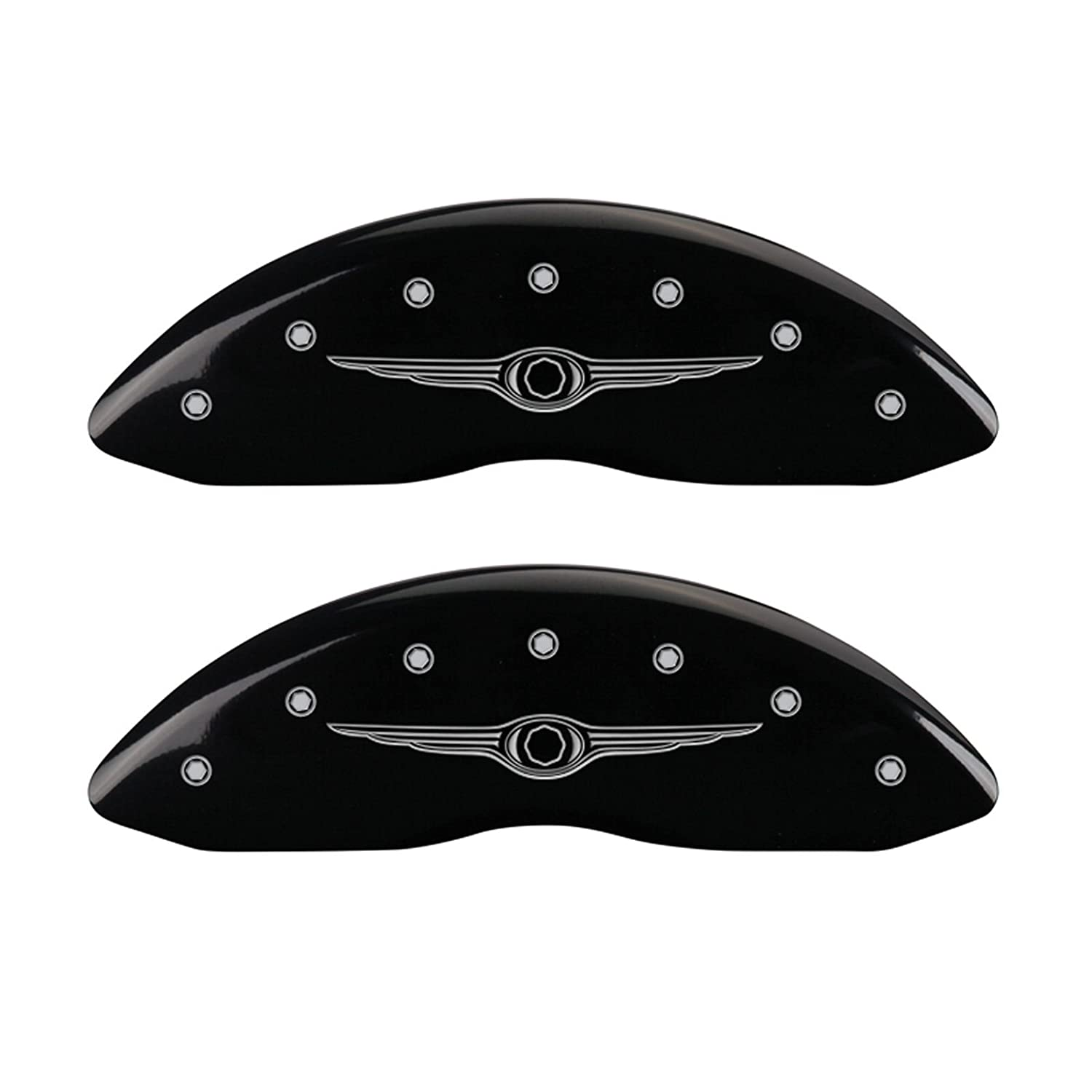 Set of 2 MGP Caliper Covers 10226FFRDBK Ford Oval Logo Type Caliper Cover with Black Powder Coat Finish and Silver Characters,
