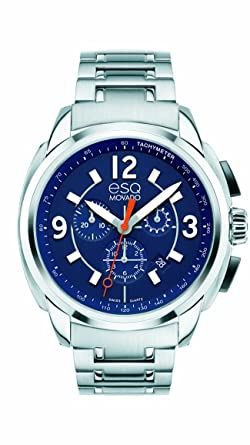 e681ffba1 Image Unavailable. Image not available for. Color: ESQ Movado Men's  07301417 esq Excel tm Stainless Steel Chrono with Blue ...