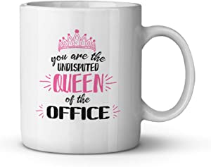You are the Undisputed Queen of the Office Ceramic Coffee Mug Funny Birthday Gift for Coworker Boss New Job Present for Woman Farewell Going Away Gift for Colleague Job Humor Tea Cup 11 oz
