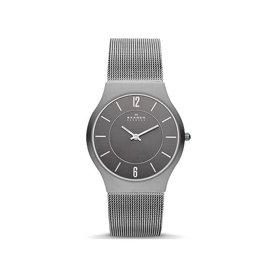 Skagen Slimline233LTTM - Reloj de Caballero de Cuarzo, Correa de Titanio Color Gris: Skagen: Amazon.es: Relojes