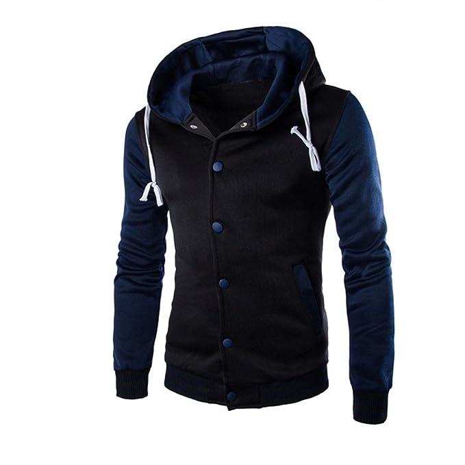7Lucky Männer Langarm Panel Knopf Jacke Mantel Jacke Outwear ...