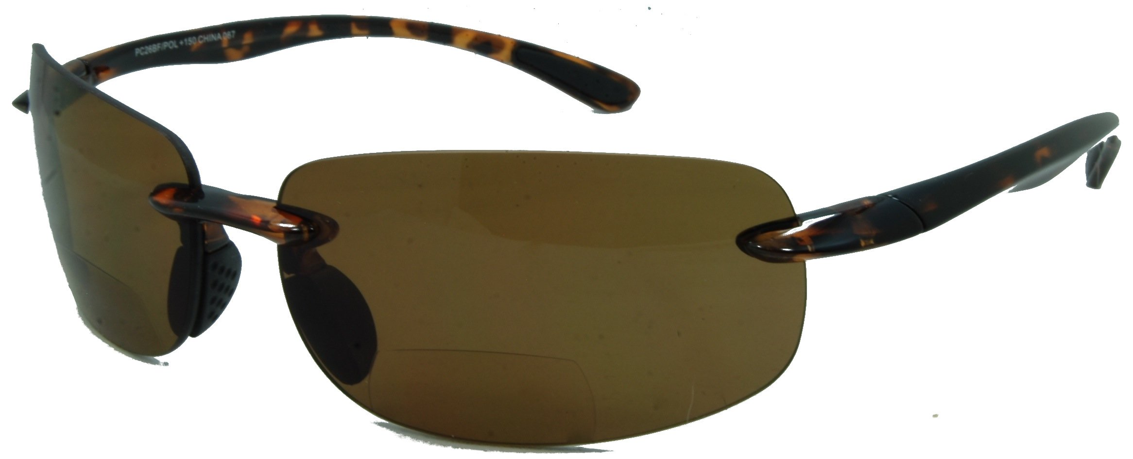 Lovin Maui Wrap Around Polarized Nearly Invisible Line Bifocal Sunglasses/Tortoise/2.00 Strength