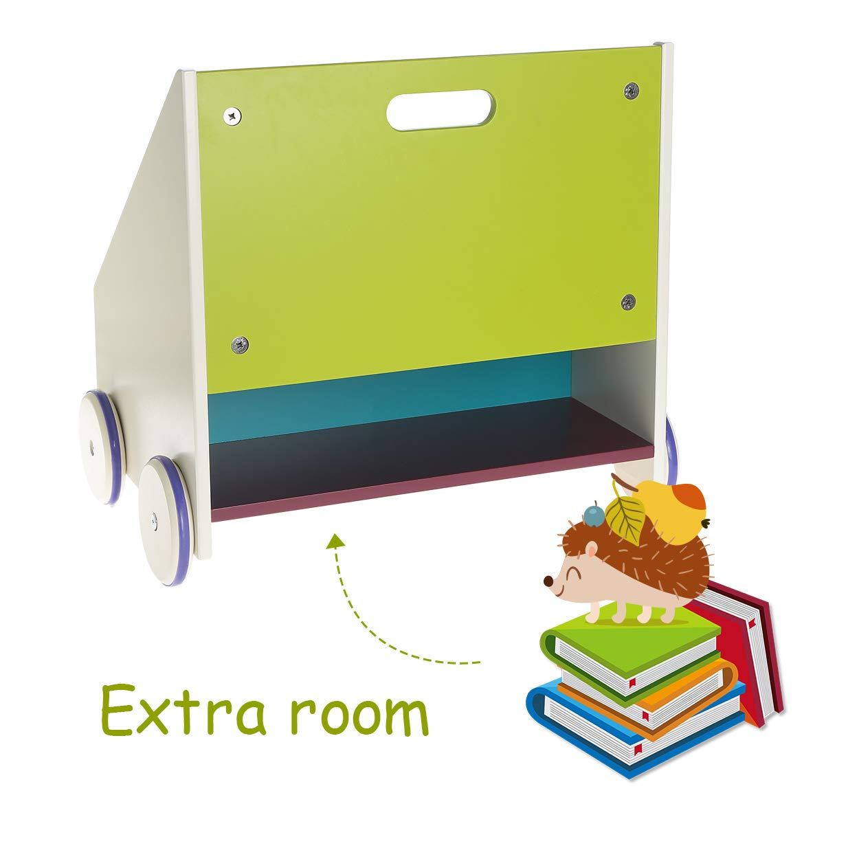 Library Furniture Book Storage//Shelf Trapeziodal Shape hessie Little Toddler Kids Portable Wooden Bookcase//Bookshelf on Wheels Green Hedgehog
