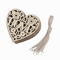 10pcs Forme de Coeur en Bois Embellissement Décoration Suspendue pour Sapin de Noël
