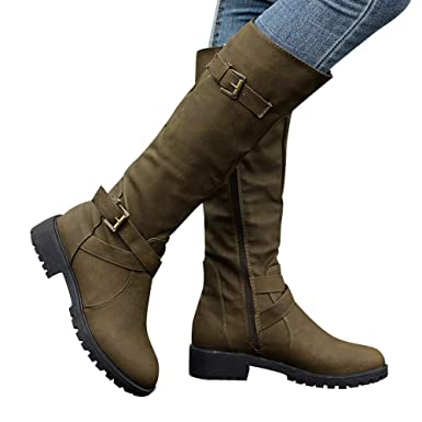40a92462d18 Image Unavailable. Image not available for. Color  Gyoume Over Keen Boots  Women Calf Biker Boots Shoes Buckle Boots Flat Wedge ...