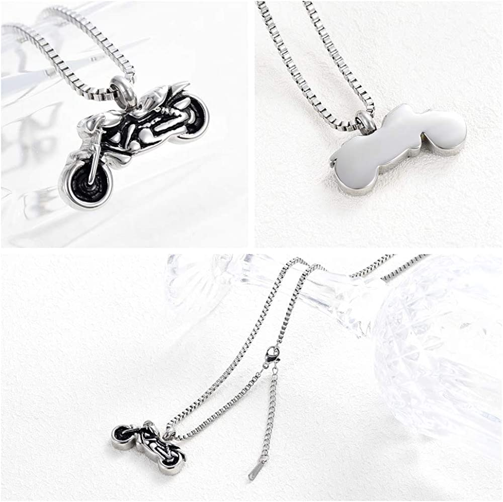 XSMZB Motorcycle Cremation Jewelry for Ashes Penadant Locket Stainless Steel Keepsake Memorial Urn Necklace for Men Women