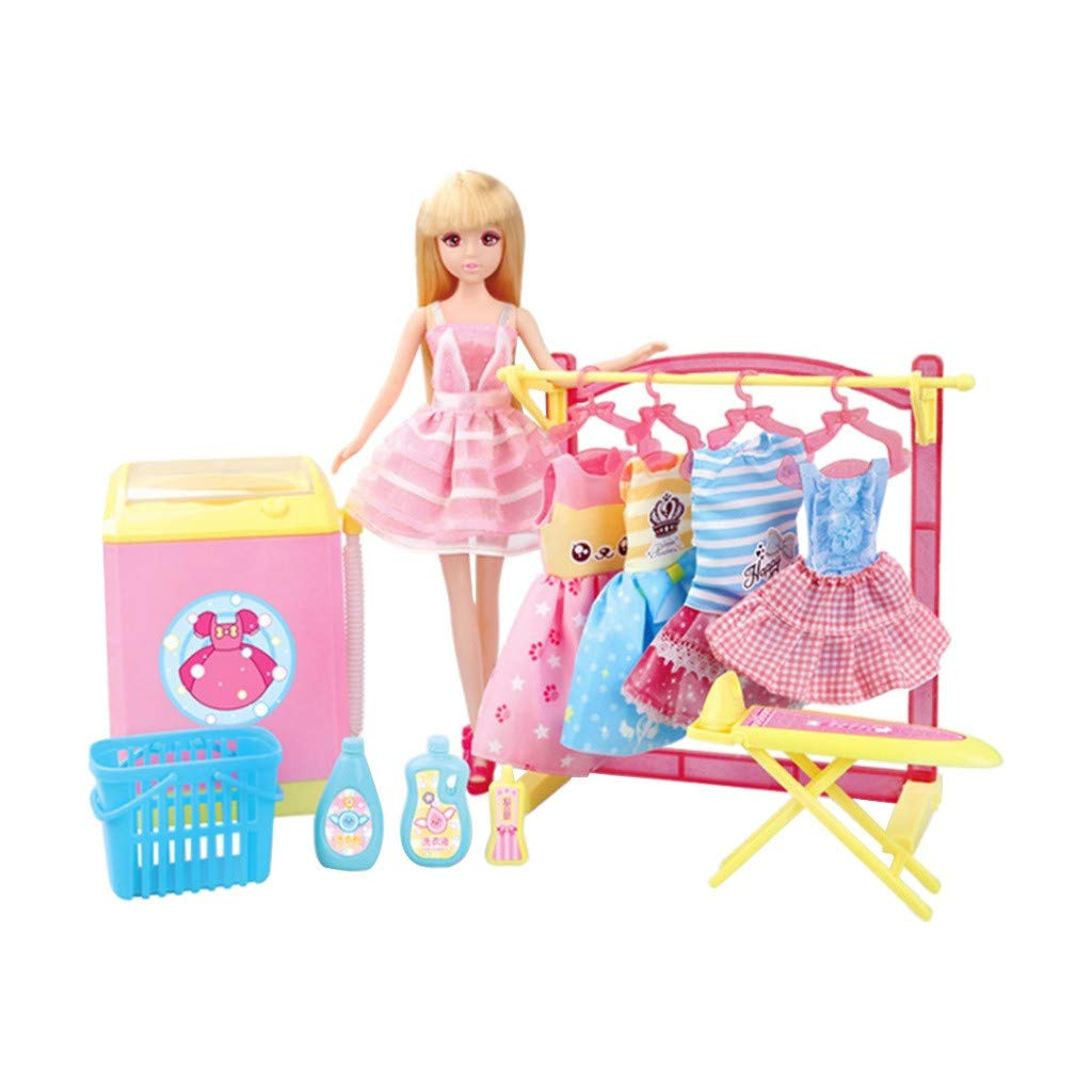 NiceBUY Pretend Play Dolls Laundry Dress Up Princess Costumes with Waching Machine 16 Pcs Accessories for Kids Birthday Gift Party Favors (1 Set)