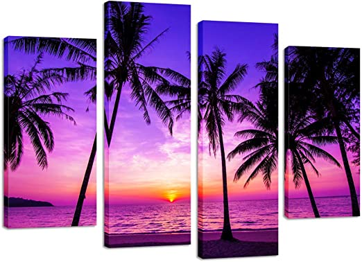 Tropical Beach Palm Tree Holiday Landscape Wall Art Poster Canvas Pictures