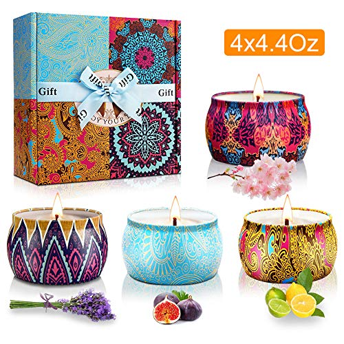 Y YUEGANG Scented Candles Gifts Set for Women, Natural Soy Wax,Fragrances Aromatherapy Candles Travel Tin, Birthday Valentine