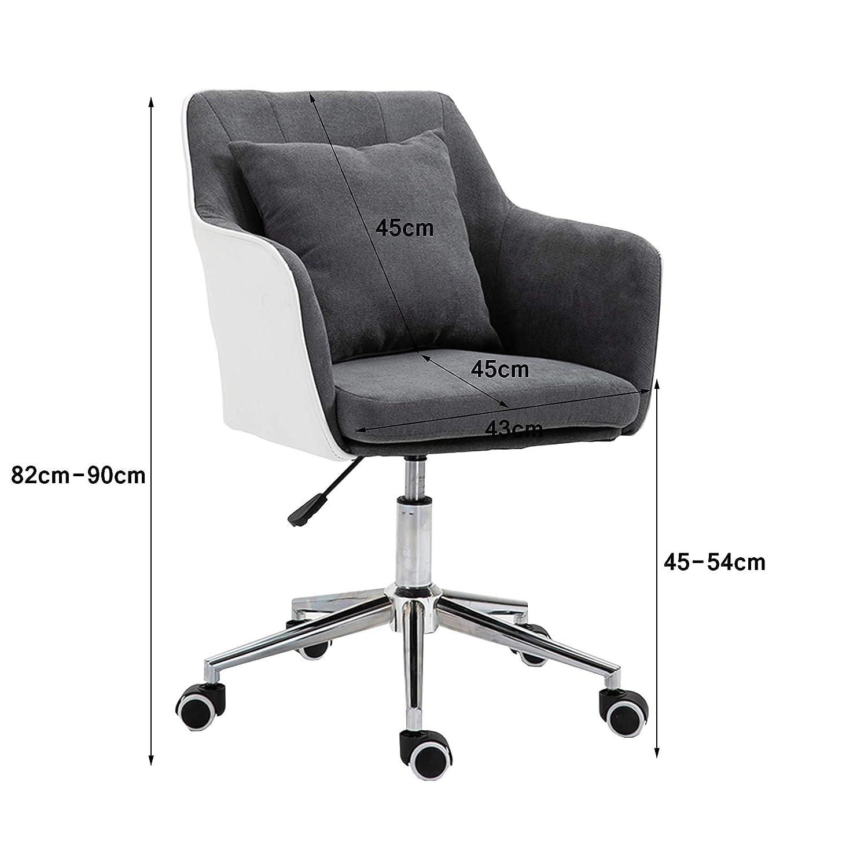 Ergonomisk svängbar kontorsstol, mitten av baksidan skrivbordsstol - justerbar höjd med uppfällningsarmar, ländrygg stöd och tjock sittdyna Rosa