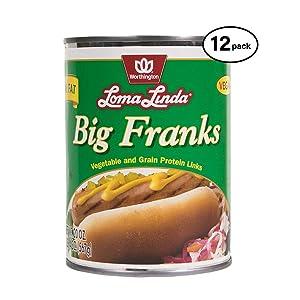 Loma Linda - Plant-Based - Low Fat Big Franks (20 oz.) (Pack of 12) - Kosher