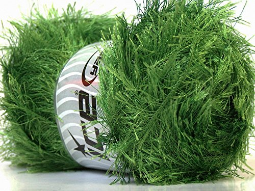 Large 100 gram Skein Jungle Grass Green Eyelash Yarn Ice Packer