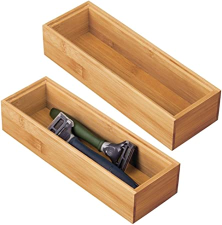 mDesign Juego de 2 Cajas organizadoras para el baño – Práctico cajón Organizador de bambú – Caja de Madera organizar Maquillaje, maquinillas, lociones y más – Color Natural: Amazon.es: Hogar