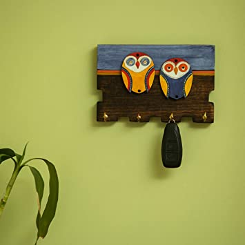 Exclusivelane Twin Owl Motifs Home Decorative Keychain Holder Key Hangers Key Stand Wooden Wall Hanging Key Holder For Wall 4 Hooks Amazon In Home Kitchen