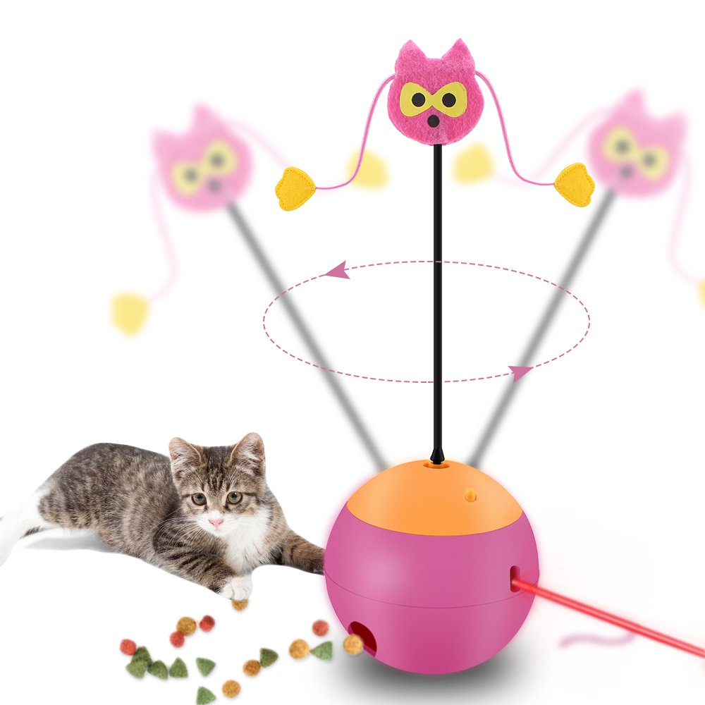 Cypropid Interactive Cat Toy - Cat Toy Ball for Kitty And Kitten - 3 In 1 Multi Function, Electric Spinning Food Dispenser Ball with Red Light and Tumbler
