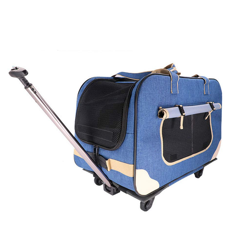 A GWM Backpacks Pet Carts, Four Trolley Pet Dog Stroller Foldable Bag Detachable Trolley Bag Pet (color   A)