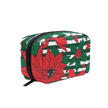 6f9430c35a01 Amazon.com : Plant Poinsettia Red Cosmetic Bags Organizer- Travel ...