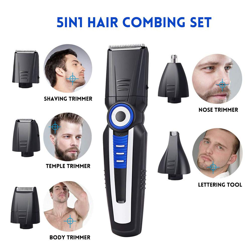 LUBANC 5 in 1 Rechargeable Hair Nose Clipper Men Beard Professional Shaver Electric Hair Cutter Cutting Machine Hair Trimmer Tool Set