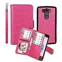 Wallet Case for LG G3, xhorizon TM SR Premium Leather Folio Case Wallet Magnetic Detachable Purse Multiple Card Slots Case Cover for LG G3 - Rose