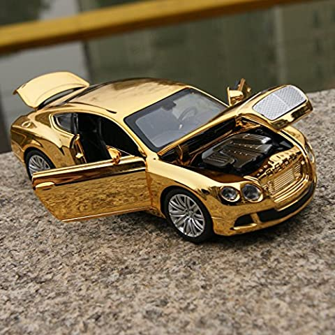 Bentley GT W12 Car Model 1:32 Sound&Light Alloy Diecast Golden-Yellow Plated Toy