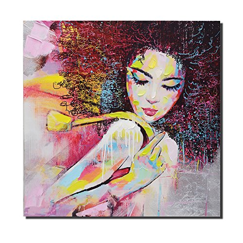 Oil Canvas Wall - Pinetree Art African American Canvas Wall Art, Original Designed Pop Graffiti Style Canvas Painting on Print (28 x 28 inch, D Unframed)