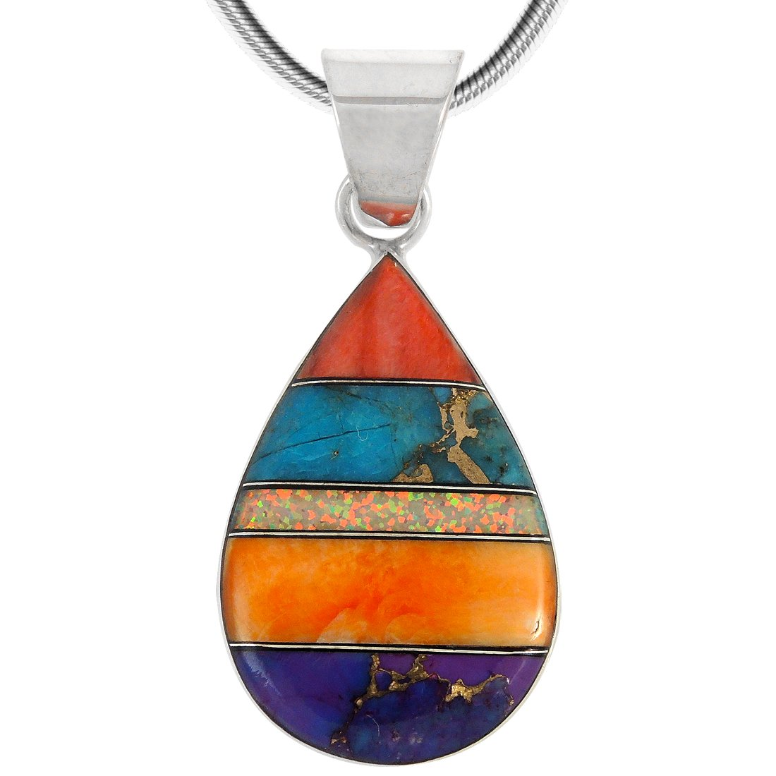 Turquoise & Gemstones Pendant Necklace in Sterling Silver 925 (SELECT Style) (Teardrop)