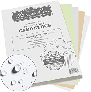 "product image for Rite in the Rain All Weather Card Stock, 8.5"" x 11"", 100#, 20 Sheets of White, Green, Tan, and Gray, 80 Sheet Pack (No. HW8511M)"