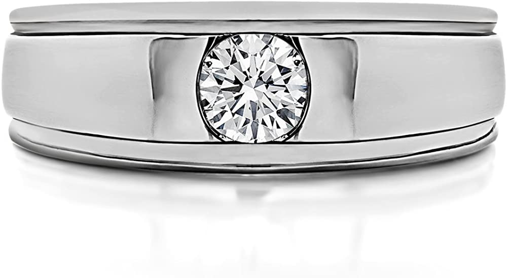 TwoBirch 0.17 Ct G,I2 Mens Round Burnished Set Solitaire In Sterling Silver With Diamonds