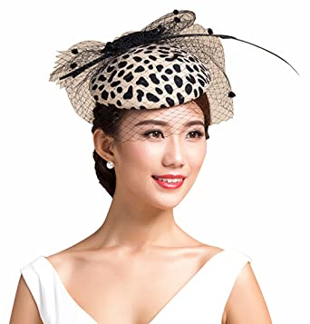 Edith qi 20s 30s 40s Wool Felt Women s Hats Feather Fascinator with ... d244caa2d6a