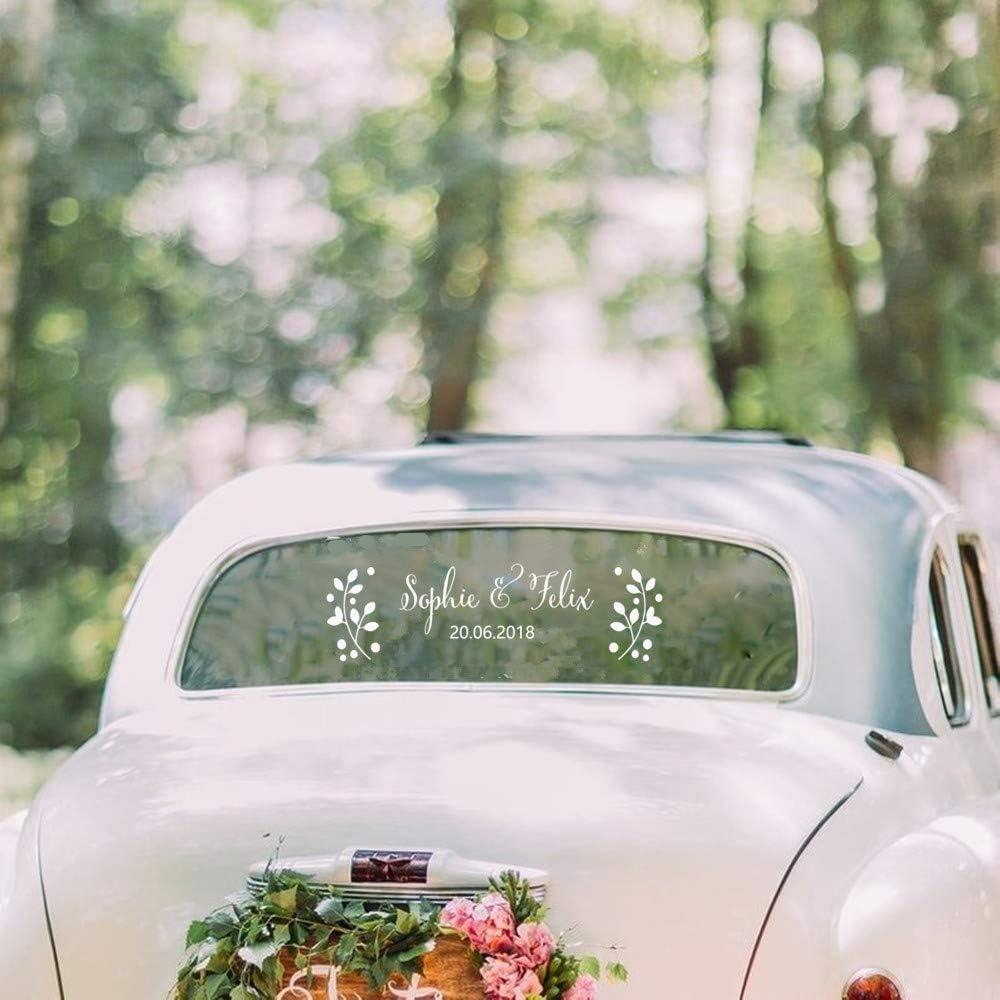 Stickers Muraux Floral Personnalis/é Nom Date Autocollants Diy Mariage De Voiture D/écor Decal Personnalis/é Mari/ée Mari/é Noms