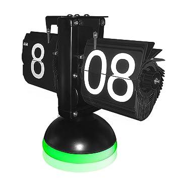 KABB Reloj Flip Retro de Números, Relojes de Sobremesa Modernos, Retro estilo exquisito y artístico (Reloj con lámpara, Negro y verde): Amazon.es: Hogar