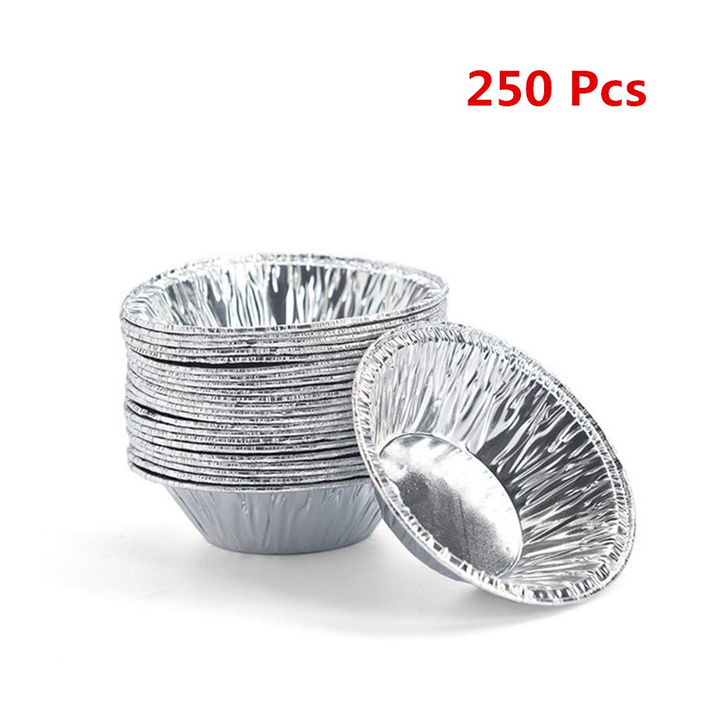 ECOSWAY 250 Pcs Disposable Tin Foil Cups Egg Tart Baking Mold, 2.75 Inch Round Egg Tarts Tray Bakeware for Muffin Cupcake~Silver
