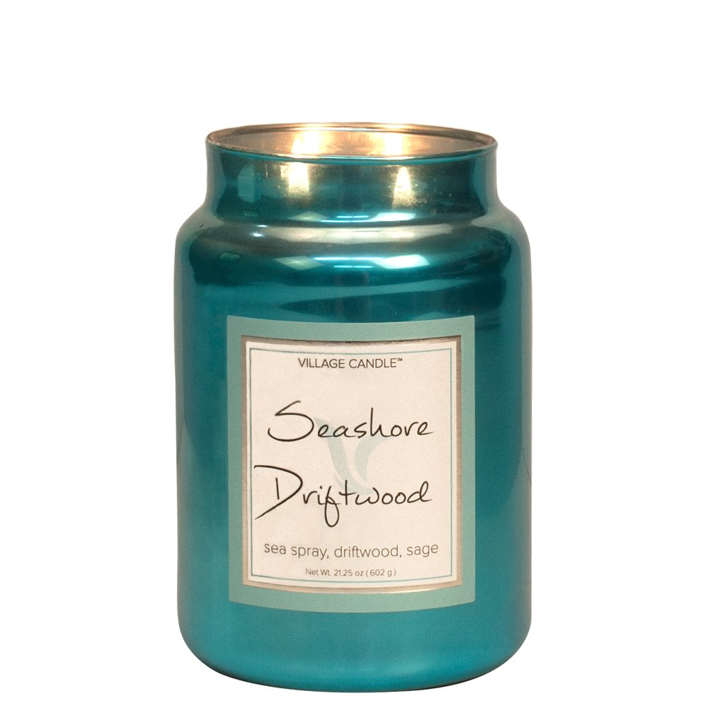 Village Candle Seashore Driftwood 11 oz Metallic Jar Scented Candle Small