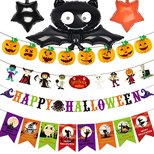 Halloween Decorations Banners Garland Vampire Black Bat Pumpkin Mummy Witches Spiders Kit for Kids Halloween Party -