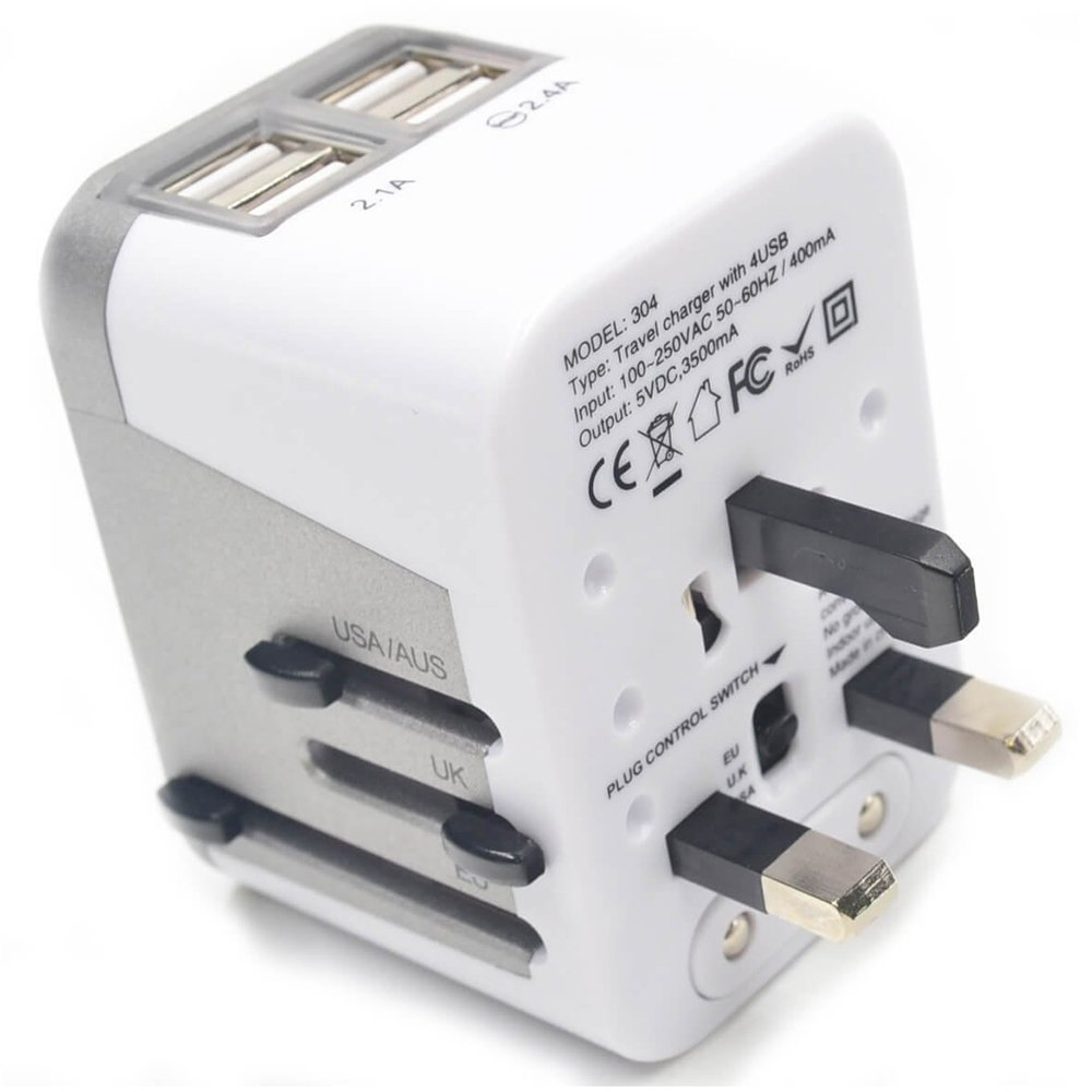 SODIAL Power Plug Adapter International Travel 4 USB Ports work - 220 Volt Adapter Travel Adapter Type C Type A Type G Type I for UK Japan China EU Europe European(white)